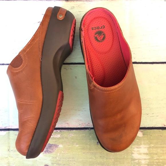 buy online 4b1ce 22150 Crocs Cobbler 2.0 Sz 7.5 Brown Leather Clogs Mules